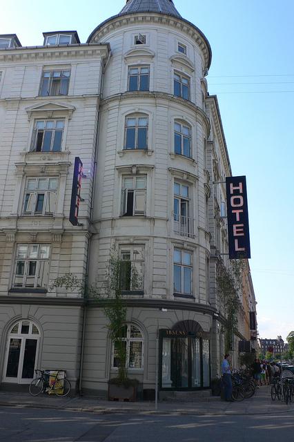 boutique hotel front facade features circular tower turret design, Ibsens Hotel, Copenhagen