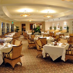 A dining room in a memory care facility or unit should offer room for wheelchairs.