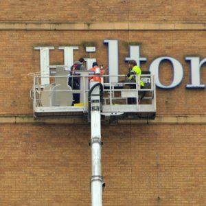 Hotel preventative maintenance is always a good idea to make sure things keep running smoothly! Hilton outdoor sign maintenance