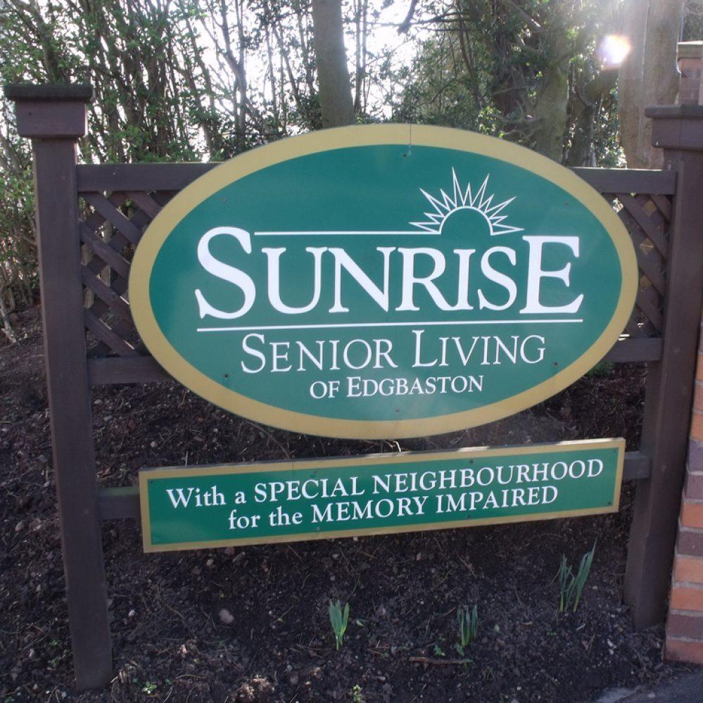 sunrise senior housing sign