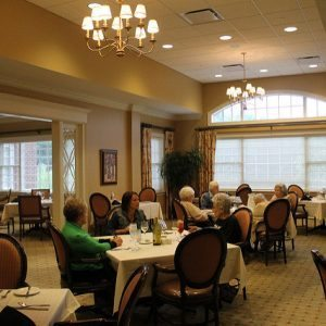 eating together in senior housing facility