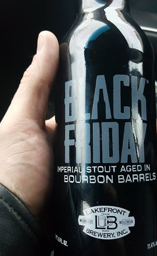 wisconsin craft beer lakefront brewery black friday imperial stout aged in bourbon barrels bomber bottle