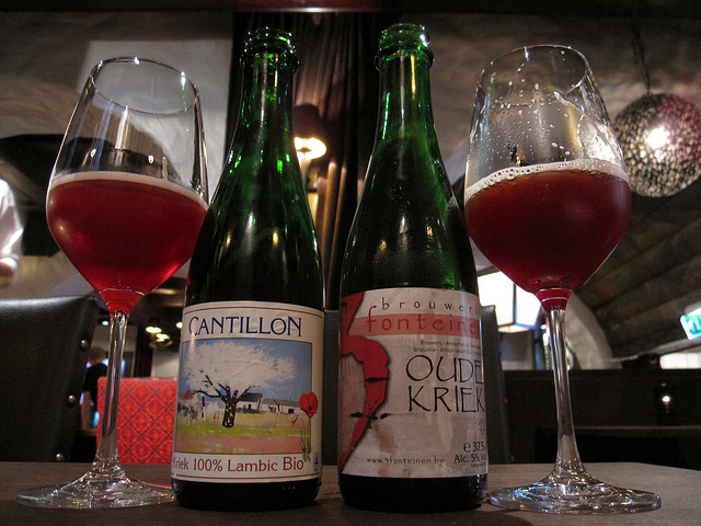 Two bottles of Kriek Lambic beer.