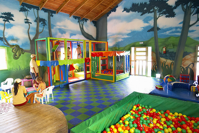 A family-friendly hotel might have a kid's play area that is child-safe and open to families to use while staying at the hotel.