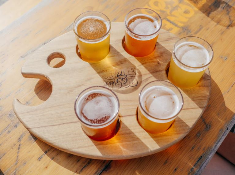 Seasonal beer tasting flights are a great way to host fun brewery events at your brewery, like this beer flight from Stone & Wood Brewing Company, Byron Bay, Australia