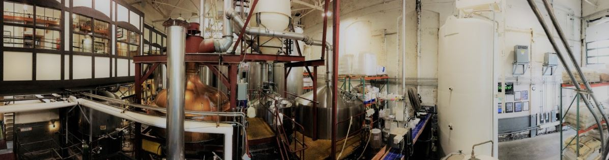 Panoramic view of Lakefront Brewery's brewing room in Milwaukee, Wisconsin