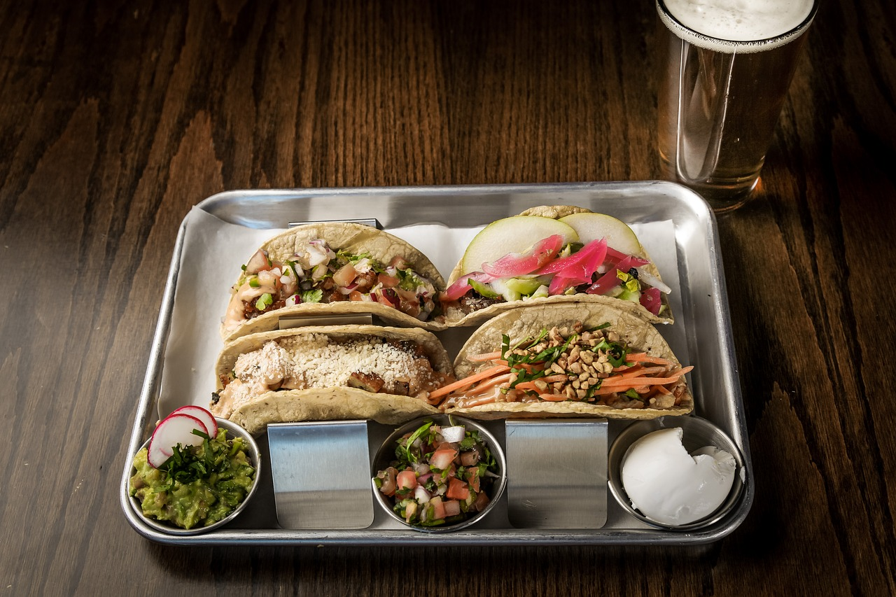 Spicy beer pairs perfectly with a classic Mexican meal like tacos or fajitas