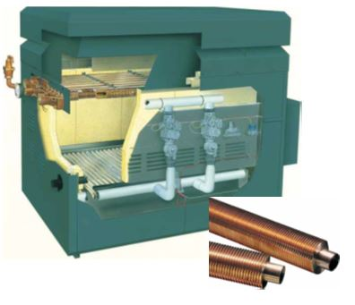 A water-tube boiler contains the heat exchanger, a series of metal tubes through which water travels.