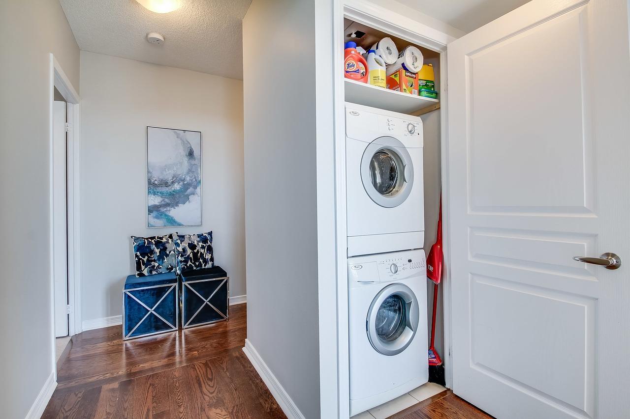 Washer and dryer unit in an apartment
